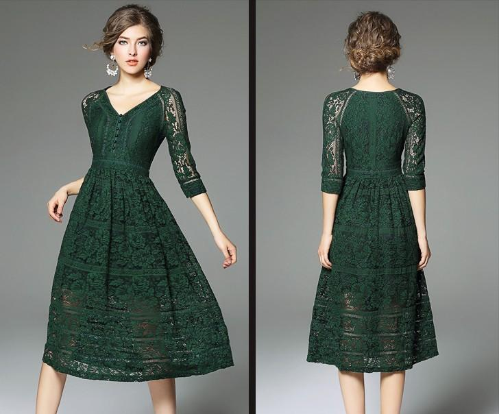 2019 Dark Green Lace Dress 3/4 Sleeves V Neck A Line 2017