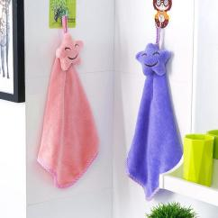 Towel For Kitchen Arts And Crafts Cabinets Cute Cartoons Soft Hanging Coral Velvet Quick Drying Smiling Face Hand Towels Absorbent