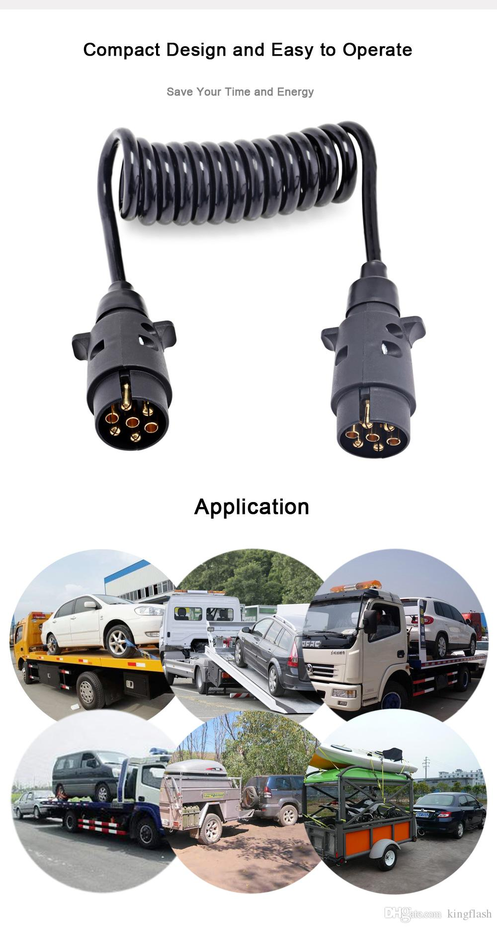 hight resolution of trailer wiring connector n type aluminum 7 pin t23489 plastic plug 150cm black spring extension