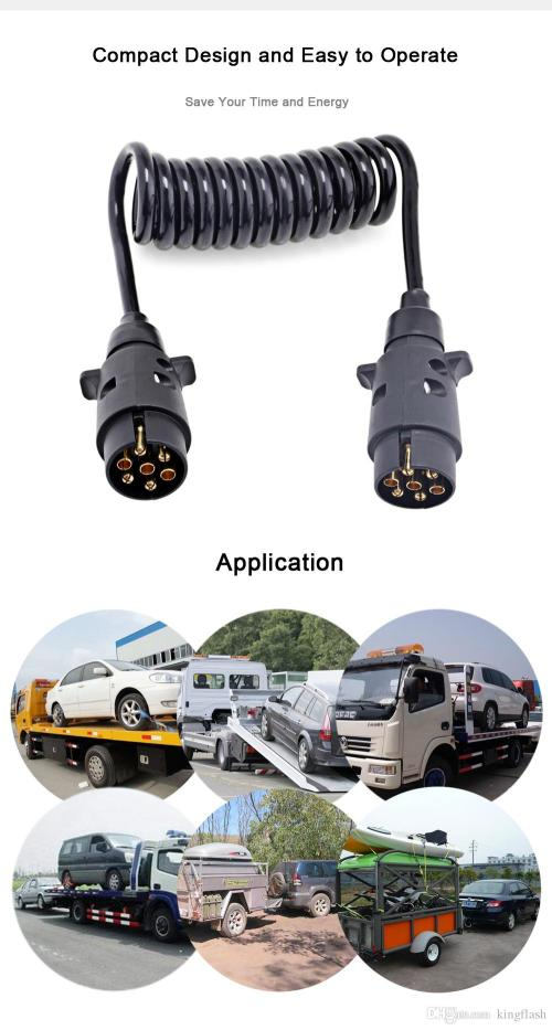 small resolution of trailer wiring connector n type aluminum 7 pin t23489 plastic plug 150cm black spring extension