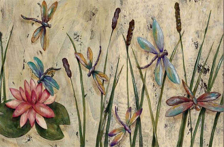 3d Name Wallpaper V Personalized Dragonfly Lotus Mural Wallpapers Eurpoean