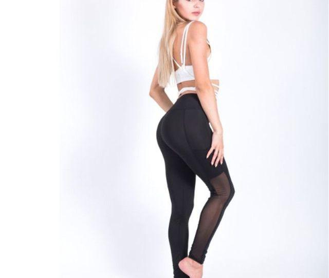 Hot Women Tight Leggings Sexy Mesh Sport Leggings Tightest Yoga Pants Black Workout Pants Lady Trousers