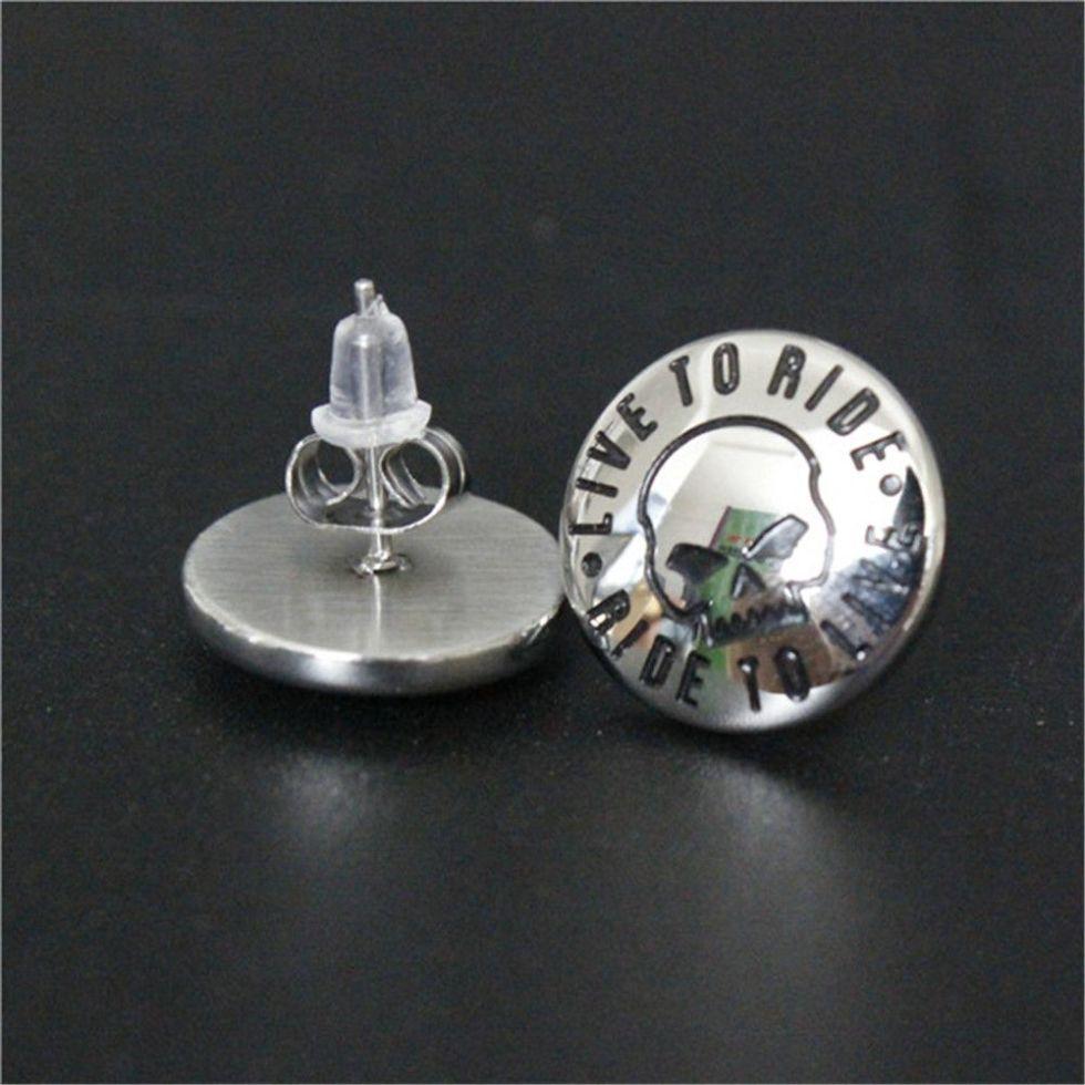 new arrival cool biker style earrings 316L stainless steel fashion jewelry unisex motorbiker live to ride earrings