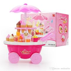 Kids Kitchen Toys Victorian Cabinets 2019 Popular Sale Ice Cream Sweets Cart Pretend Play Toy Educational Food Payset