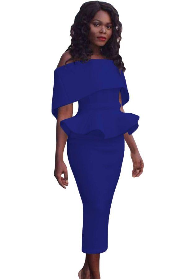 97dfbd6713d Innerger Women Size Shoulder Bodycon Party Dress Evening Formal Gown White  Xxxxl. Off the Shoulder Plus Size Peplum Dresses