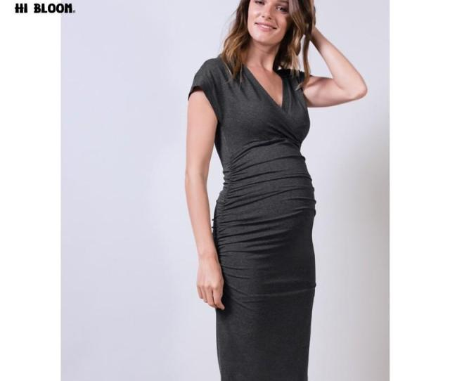 Summer Fashion Maternity One Piece Dresses Knee Length Spring Maternity Clothing Pregnancy Clothes V