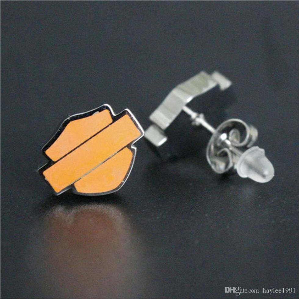 wholesale new biker style unisex earrings 316l stainless steel fashion jewelry motorbiker orange black biker earrings