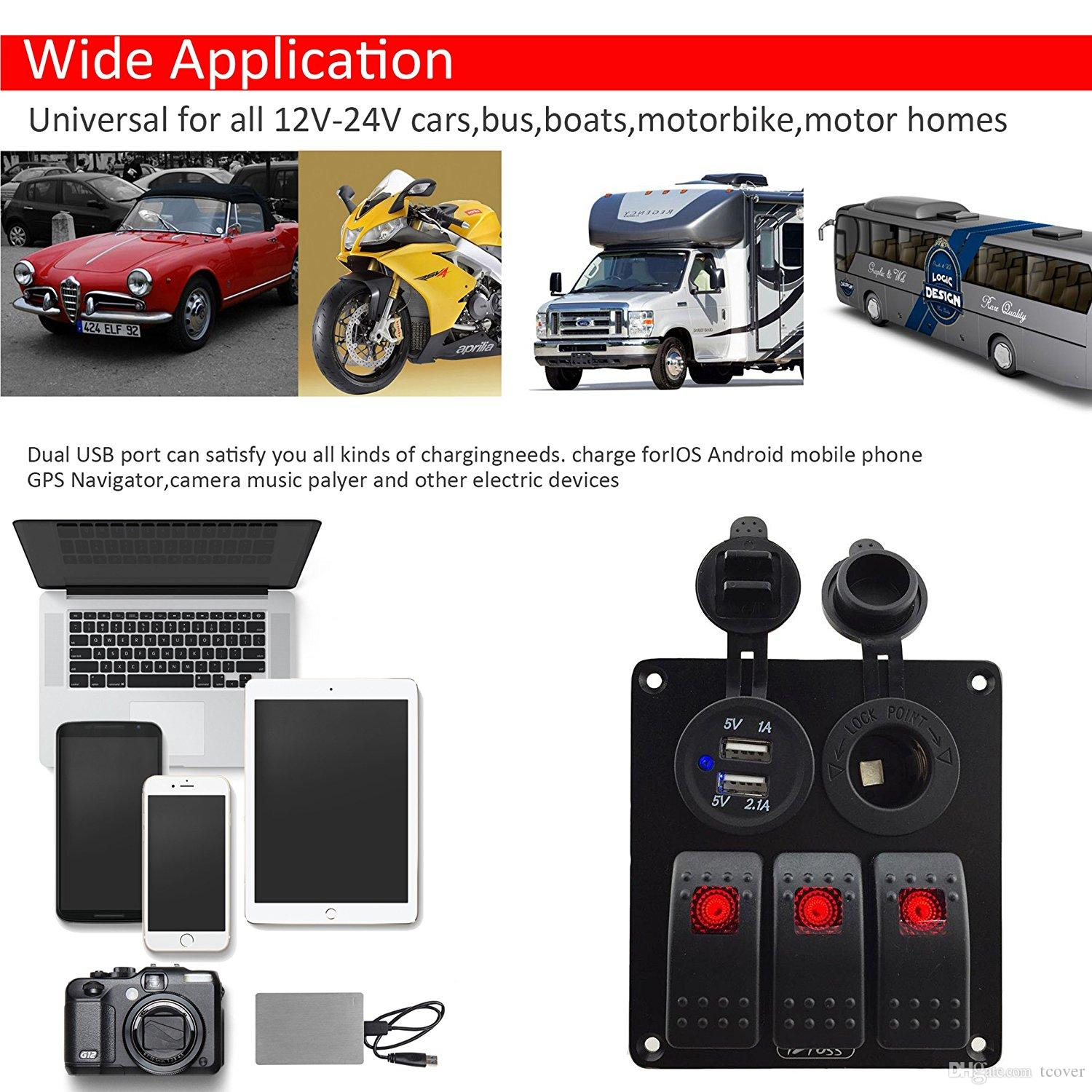 hight resolution of  zookoto 3 gang rocker switch panel with power socket 3 1a dual usb wiring kits and