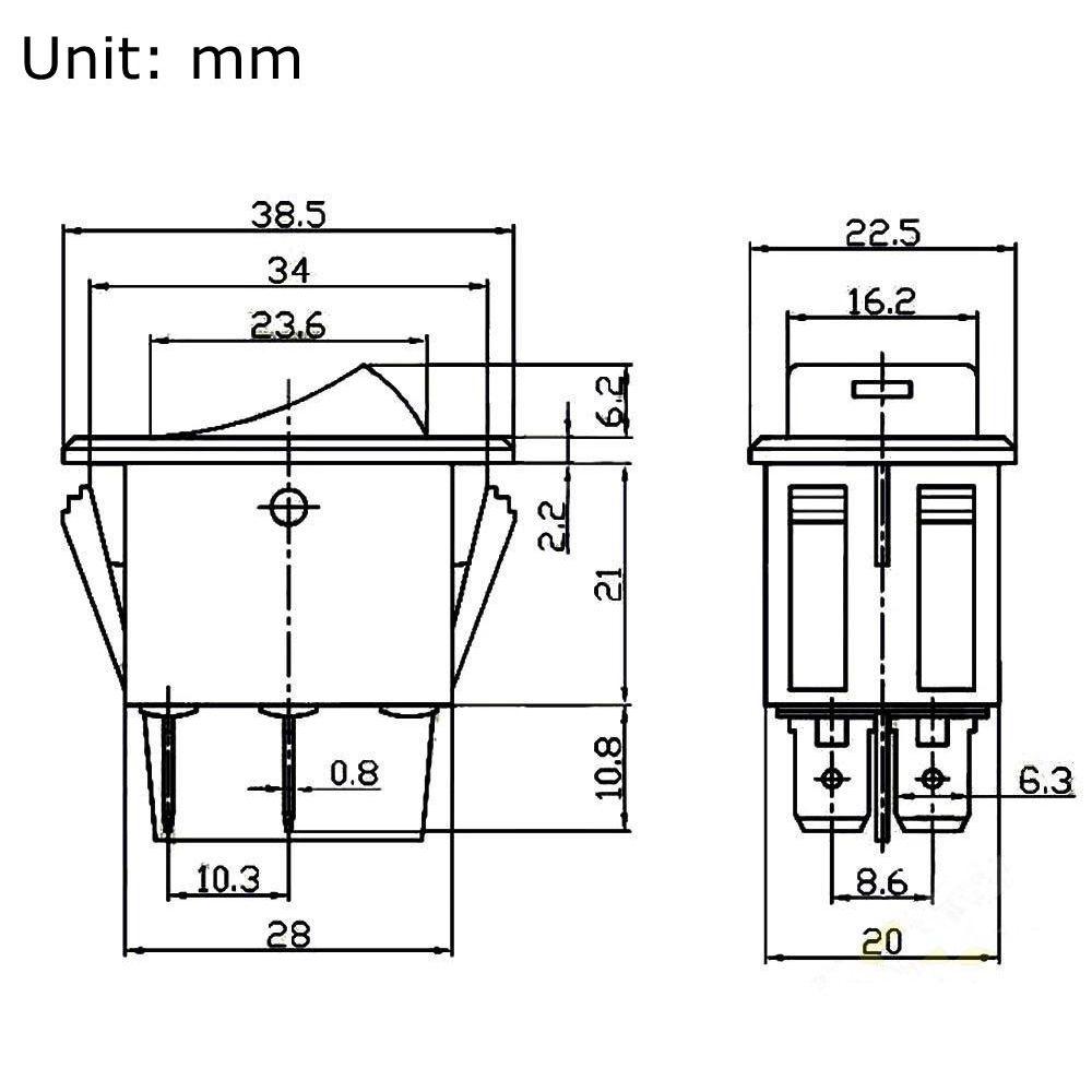 Practical 4 Pins LED Work Light Switch Indicator Rocker