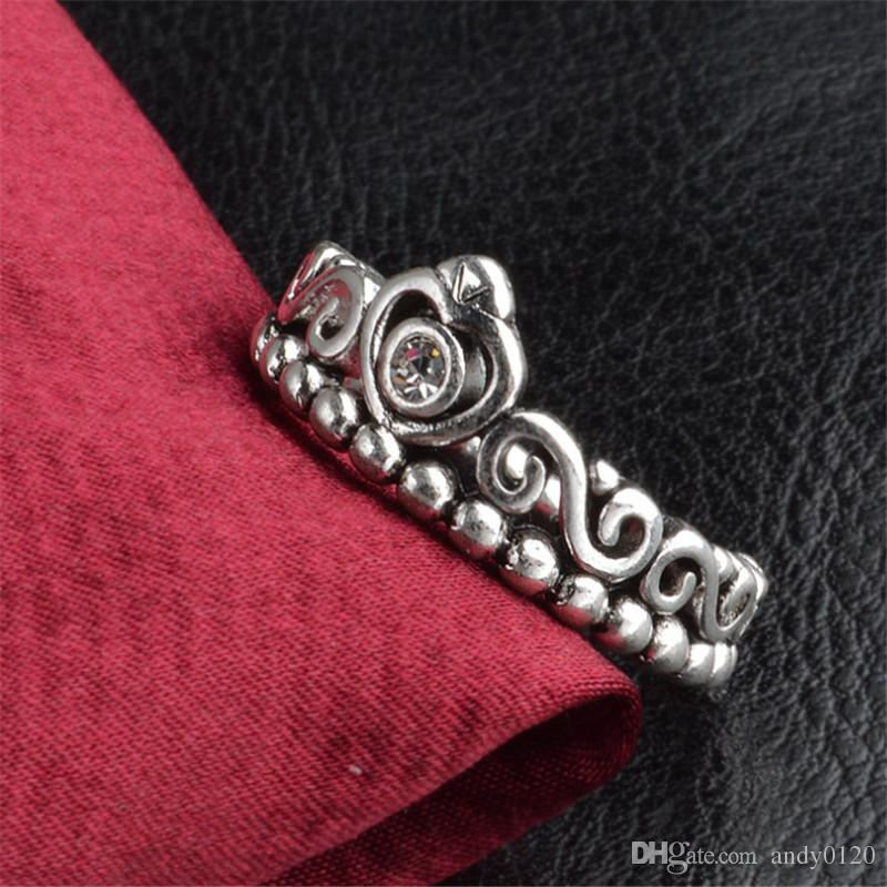 2019 Hot Sale New 925 Sterling Silver Pandora Style Rings Crown Wedding Engagement Ring For