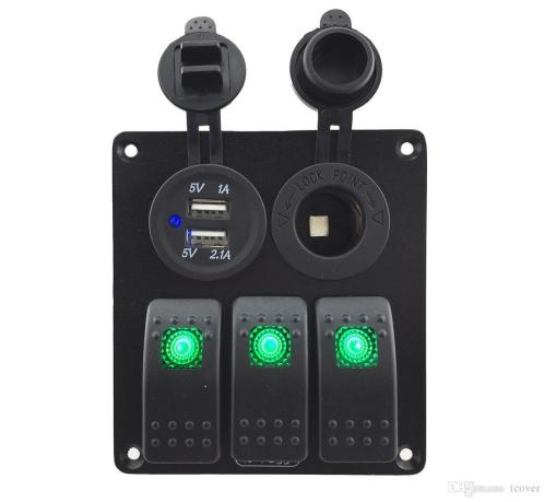 small resolution of  zookoto 3 gang rocker switch panel with power socket 3 1a dual usb wiring kits and