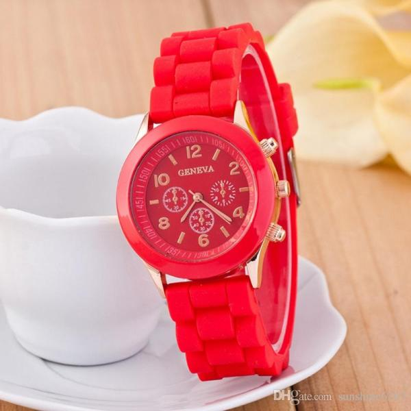 Popular Geneva Silicone Rubber Jelly Candy Watches Unisex Mens Womens Ladies Colorful
