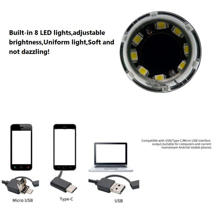 2019 8x LED Light Mini USB 50X 1000X Portable Magnifier