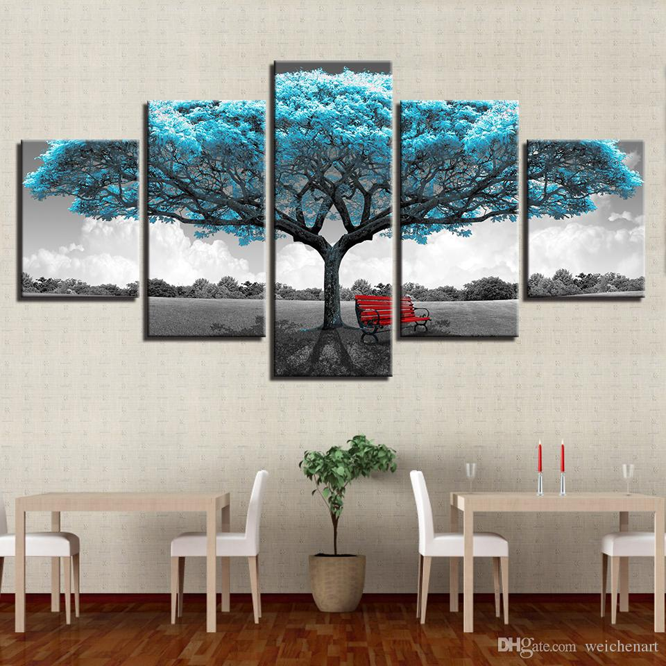 canvas prints for living room small designs kerala style 2019 paintings framework decor blue big tree red chair pictures abstract landscape poster
