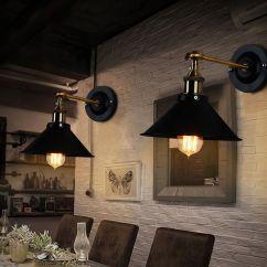 Kitchen Wall Lights Ikea Cupboards Vintage Industrial Black Sconce Lamp 180 Degree Adjustable Metal Bronze Light Lighting