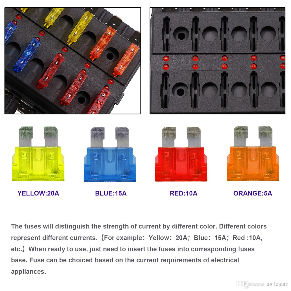 hight resolution of  max 32v plastic cover 12 way blade fuse box holder m5 stud with led indicator for
