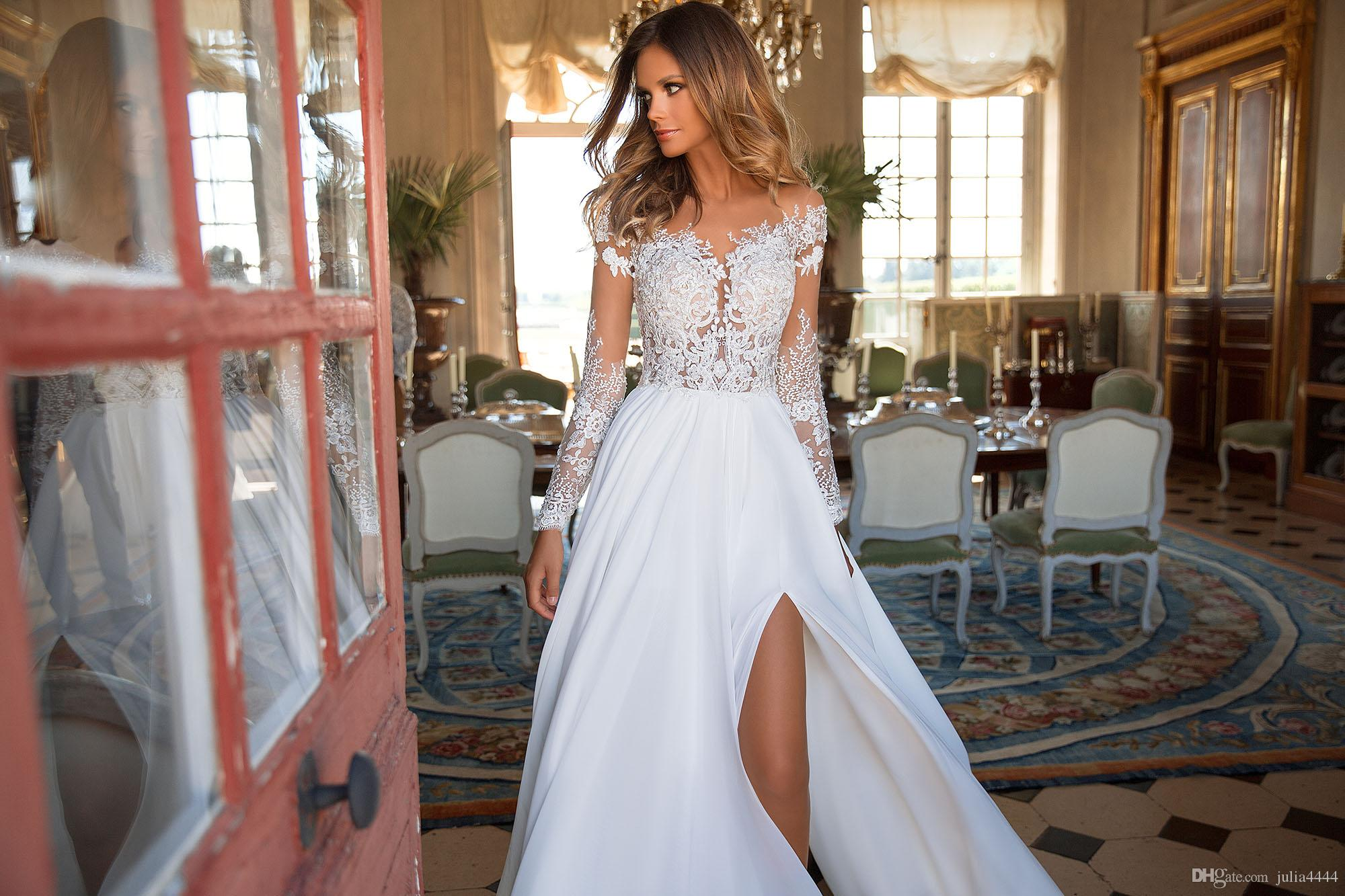 Discount Long Sleeve Wedding Dresses 2018 Real Image