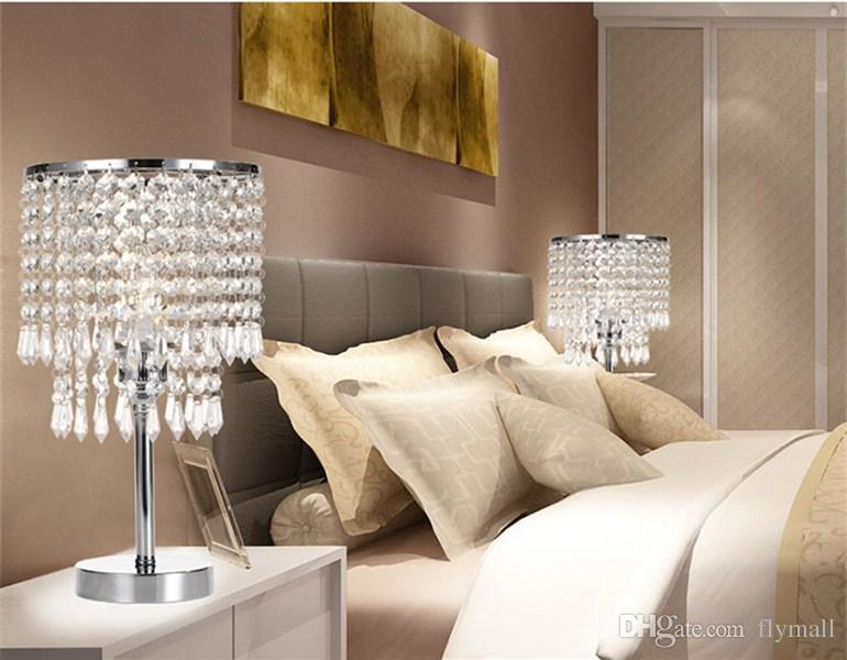 2019 Chrome Round Crystal Chandelier Bedroom Nightstand