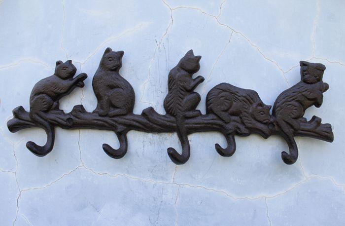 3 pieces en fonte decorative porte manteau 5 chats avec 5 crochets porte porte