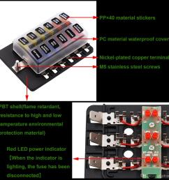 max 32v plastic cover 12 way blade fuse box holder m5 stud with led indicator for  [ 1200 x 1200 Pixel ]