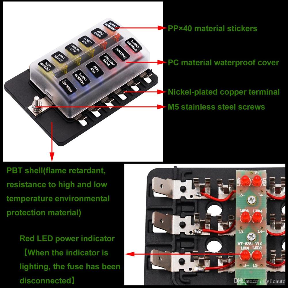 medium resolution of  max 32v plastic cover 12 way blade fuse box holder m5 stud with led indicator for