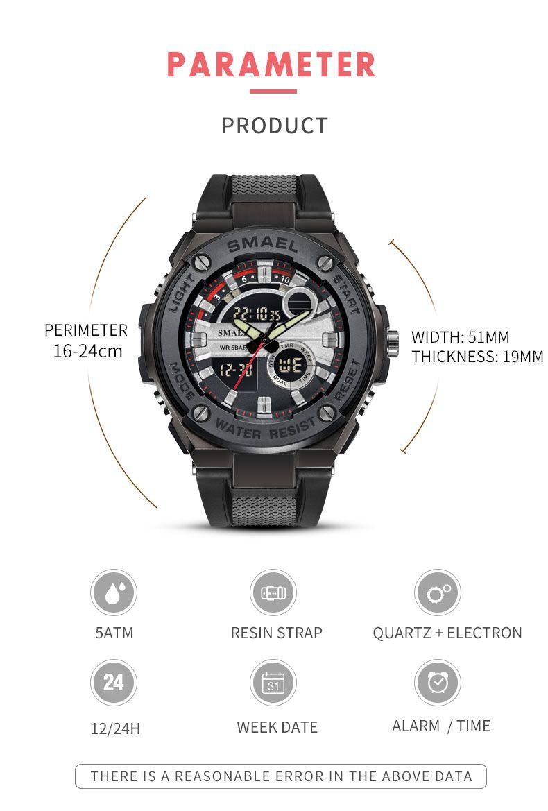SMAEL New Luxury Quartz Watches LED Digital Waterproof