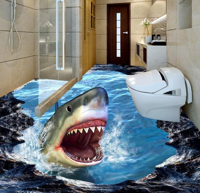 3d Brick Mural Wallpaper Wall Mural Wallpaper Shark 3d Three Dimensional Painting