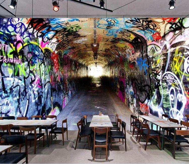 Custom 3D Wall Mural Wallpaper Modern Vintage Tunnel