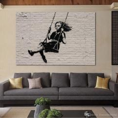 Paintings For Living Room Tv Showcase Designs 2019 Oil Painting Wall On Canvas Banksy Street Art Modern No Frame Picture