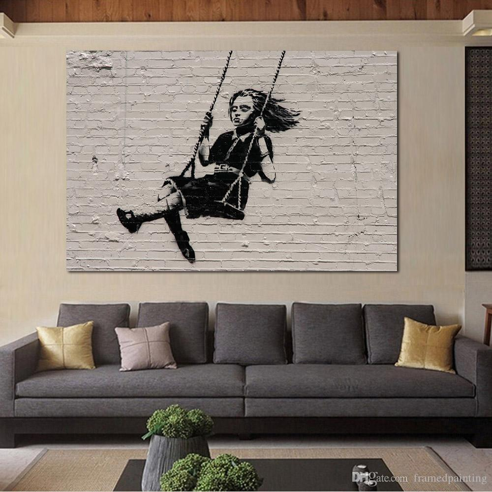 paintings for living room help design my 2019 oil painting wall on canvas banksy street art modern no frame picture
