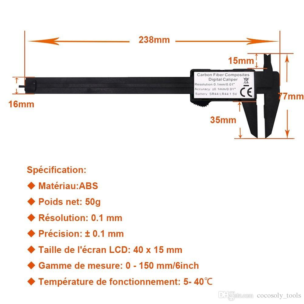 hight resolution of  measuring tool 0 150mm 6 inch plastic lcd digital electronic carbon fiber vernier caliper rule