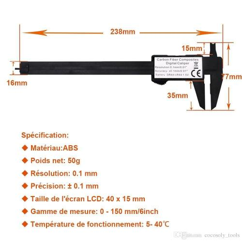 small resolution of  measuring tool 0 150mm 6 inch plastic lcd digital electronic carbon fiber vernier caliper rule