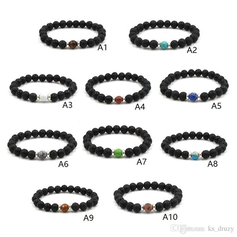 Natural Black Lava Stone Beads Elastic Bracelet Essential