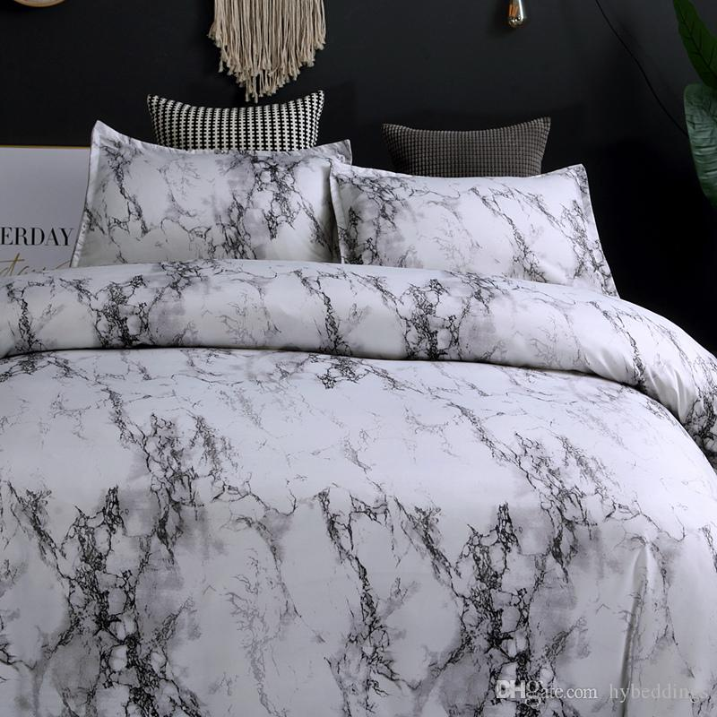 moderne marbre imprime ensemble de literie bref gris blanc ensembles de couverture de couette unique reine