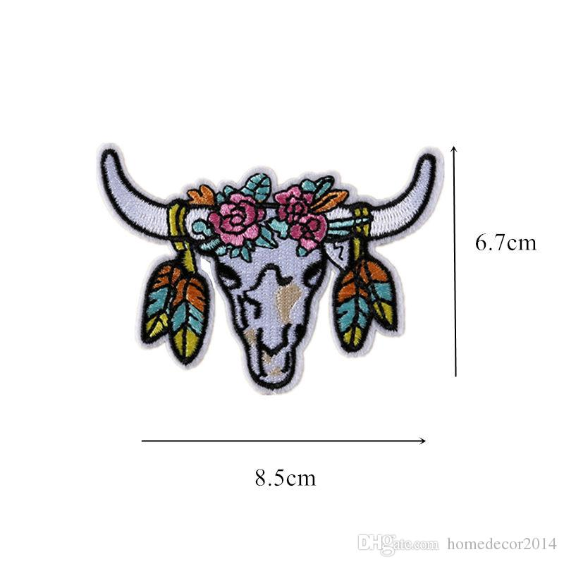 embroidered bull cow patches