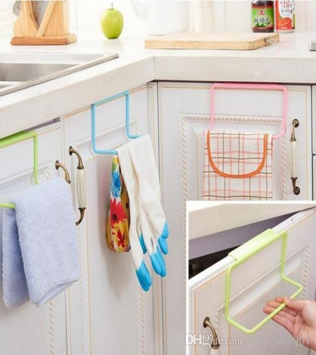 kitchen towel hanger how much does remodel cost hanging rack holder rail organizer free nail door back bathroom cabinet cupboard