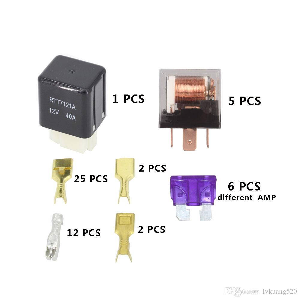 hight resolution of  6 ways auto fuse box assembly with 12v 4pin 40a 5pin 12v 40a relay auto