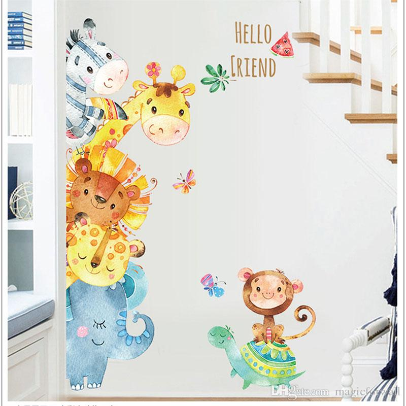 acheter aquarelle peinture bande dessinee animaux stickers muraux enfants chambre pepiniere decor peinture murale affiche art elephant singe cheval