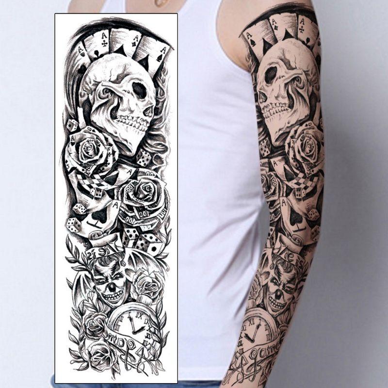Brazo Completo Mangas Temporales Del Tatuaje Pavo Real Peonía Dragón Cráneo Diseños Impermeables Hombres Frescos Mujeres Tatuajes Pegatinas Arte