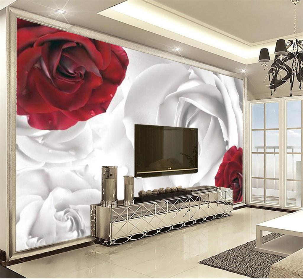 acheter papier peint personnalise pour murs decoration interieure rouge blanc rosette decoration chambre salon premium humidite papier peint de 8 67
