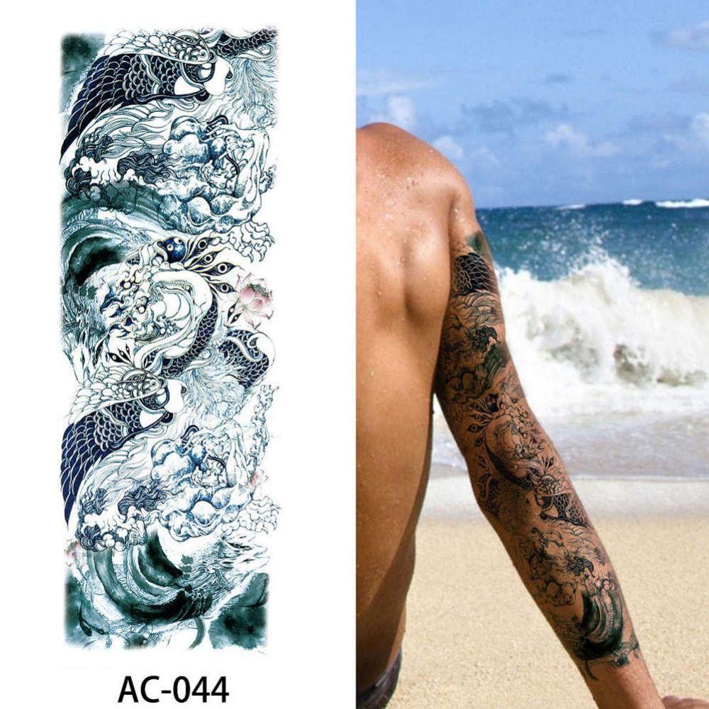 16 Diseños De Brazo Completo Tatuaje Temporal Manga Impermeable
