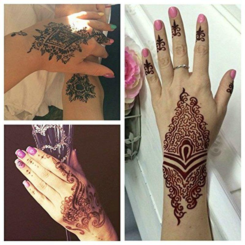 1 Hoja De Mano Grandes Plantillas De Tatuaje De Henna Para La