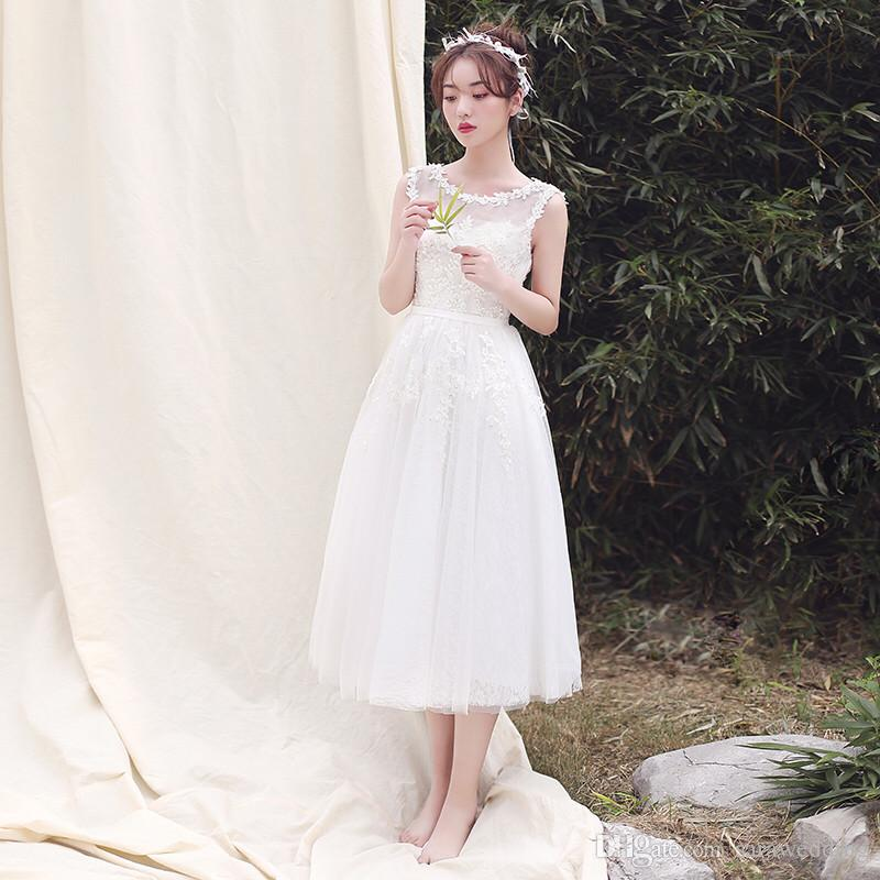 Summer Tulle Beach Dresses With Lace 2019 Tea Length Homecoming Dress Scoop Neck Prom Gowns Suknie Wieczorowe Ball Dress Best Dresses From Sarawedding, $74.38Com
