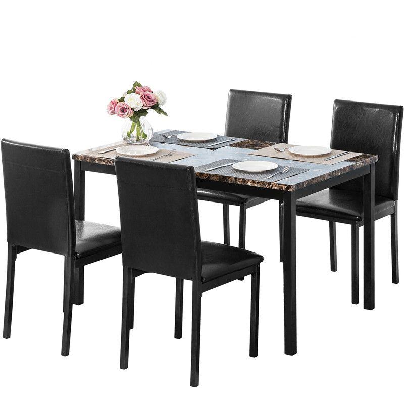 acheter ori fur salle a manger set de cuisine set de table table a manger et 4 chaises en cuir noir salle a manger meubles de style europeen de 275 86