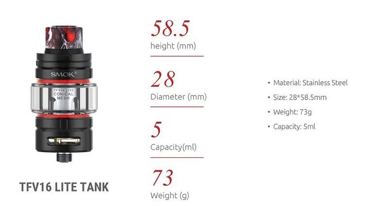 SMOK TFV16 Lite Tank 5ml Large Capacity With Conical Mesh