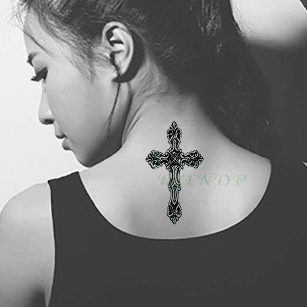Impermeables Pegatinas De Tatuaje Temporales Cruz Tótem Tribal Falso
