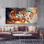 2020 Pure Hand Painted Modern Abstract Horse Oil Painting On Canvas Decorative Painting For Living Room Home Decoration 24x48inch From Paintingart2017 35 73 Dhgate Com