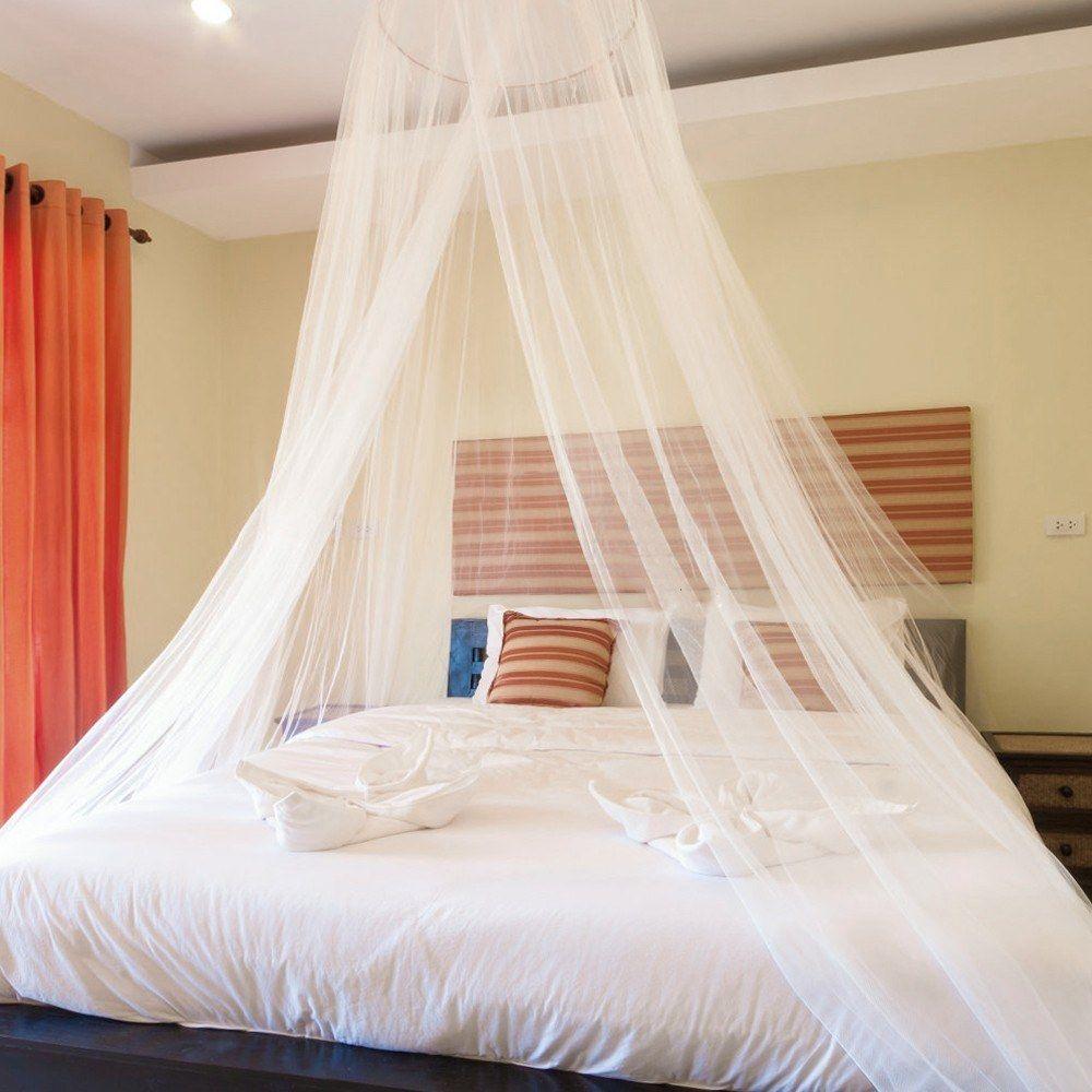 acheter tente de lit de rideau en filet de rideau de lit de moustiquaire de rejet de moustique repulsif de moustique de dome elegant blanc pour les