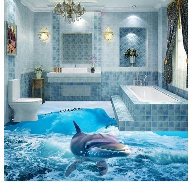 Floor Wallpaper 3d For Bathrooms 3d Ocean Underwater World Dolphin Bathroom Floor Tiles Decorative Painting The Hd Wallpaper The Hd Wallpapers From Yiwukuangdu1688 17 59 Dhgate Com