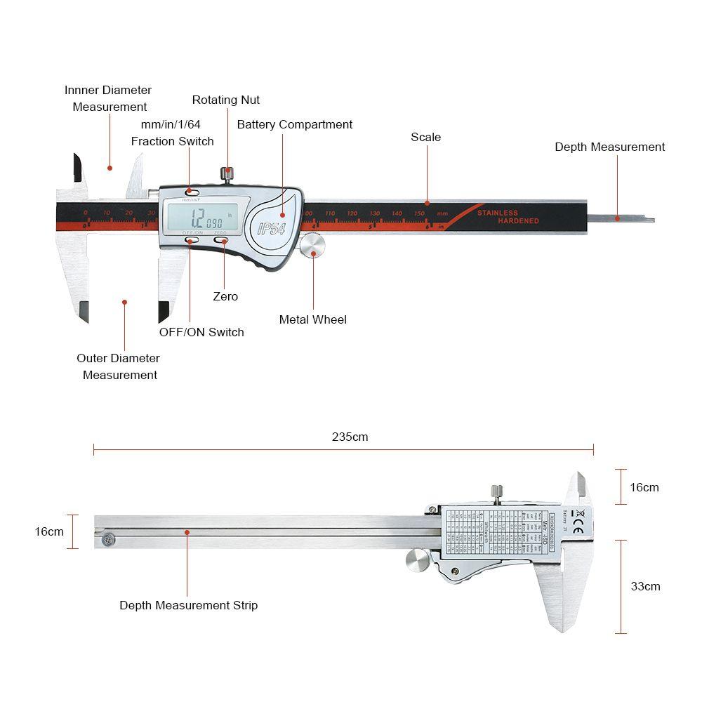 medium resolution of measuring tool stainless steel digital caliper waterproof 150mm scales calipers measuring instrument lcd display vernier caliper
